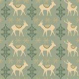 Εκλεκτής ποιότητας άνευ ραφής σχέδιο Χριστουγέννων με τα deers Στοκ Εικόνες