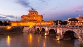 Εκλεκτής ποιότητας άποψη Castel Sant'Angelo από τη γέφυρα Ponte Sant'Angelo Στοκ Εικόνα
