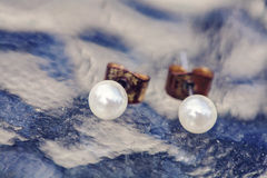 Εκλεκτής ποιότητας άσπρα στρογγυλά σκουλαρίκια μαργαριταριών Στοκ Εικόνα