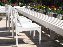 Εκλεκτής ποιότητας άσπρες ξύλινες καρέκλες στον κήπο Στοκ Εικόνες