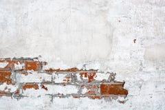 Εκλεκτής ποιότητας άσπρος τούβλινος τοίχος με το ξεφλουδισμένο ασβεστοκονίαμα Στοκ Εικόνα