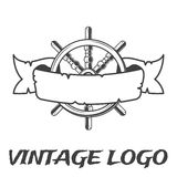 Εκλεκτής ποιότητας έμβλημα κορδελλών και handwheel Λογότυπο πειρατών στο μονοχρωματικό εκλεκτής ποιότητας ύφος Στοκ Φωτογραφία