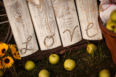 Εκλεκτής ποιότητας αγροτικό σημάδι αγάπης με τα μήλα Στοκ φωτογραφία με δικαίωμα ελεύθερης χρήσης