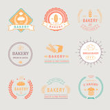 Εκλεκτής ποιότητας αναδρομικά διακριτικά αρτοποιείων, ετικέτες, λογότυπα Ψωμί διανυσματική απεικόνιση