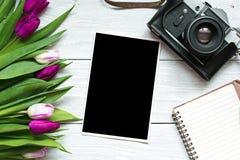 Εκλεκτής ποιότητας αναδρομική κάμερα με το κενό πλαίσιο φωτογραφιών και το πορφυρό flo τουλιπών Στοκ εικόνες με δικαίωμα ελεύθερης χρήσης