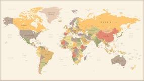 Εκλεκτής ποιότητας αναδρομικός παγκόσμιος χάρτης - απεικόνιση ελεύθερη απεικόνιση δικαιώματος