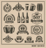 Εκλεκτής ποιότητας αναδρομικό σύνολο εικονιδίων μπύρας Στοκ Εικόνα