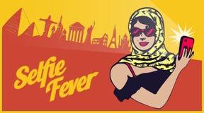Εκλεκτής ποιότητας αναδρομικό clipart: κυρία ταξιδιωτικών τουριστών που παίρνει selfie με την παγκόσμια επίσκεψη απεικόνιση αποθεμάτων
