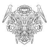 Εκλεκτής ποιότητας ανθοδέσμη ή σχέδιο λουλουδιών περιλήψεων Στοκ Φωτογραφίες