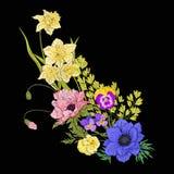 Εκλεκτής ποιότητας ανθοδέσμη λουλουδιών κεντητικής της παπαρούνας, daffodil, anemone, Στοκ εικόνες με δικαίωμα ελεύθερης χρήσης
