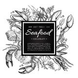 Εκλεκτής ποιότητας απεικόνιση εστιατορίων θαλασσινών PrintVector Συρμένο χέρι έμβλημα Στοκ εικόνες με δικαίωμα ελεύθερης χρήσης