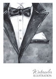 Εκλεκτής ποιότητας απεικόνιση Watercolor Χρωματισμένο χέρι κοστούμι στην έννοια μόδας Άτομο ύφους Στοκ εικόνα με δικαίωμα ελεύθερης χρήσης