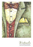 Εκλεκτής ποιότητας απεικόνιση Watercolor Χρωματισμένο χέρι κοστούμι στην έννοια μόδας Άτομο ύφους Στοκ φωτογραφία με δικαίωμα ελεύθερης χρήσης