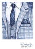 Εκλεκτής ποιότητας απεικόνιση Watercolor Χρωματισμένο χέρι κοστούμι στην έννοια μόδας Άτομο ύφους Στοκ εικόνες με δικαίωμα ελεύθερης χρήσης