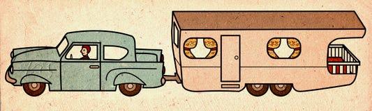 Εκλεκτής ποιότητας αυτοκίνητο που τραβά το τροχόσπιτο Στοκ Εικόνα
