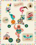 Εκλεκτής ποιότητας αφίσα με καρναβάλι, έκθεση διασκέδασης, τσίρκο Στοκ εικόνα με δικαίωμα ελεύθερης χρήσης