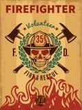 Εκλεκτής ποιότητας αφίσα πυροσβεστών απεικόνιση αποθεμάτων