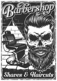 Εκλεκτής ποιότητας αφίσα barbershop με την καρέκλα και το κρανίο κουρέων Στοκ φωτογραφίες με δικαίωμα ελεύθερης χρήσης