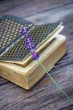 Εκλεκτής ποιότητας βιβλίο και lavender Στοκ Εικόνες