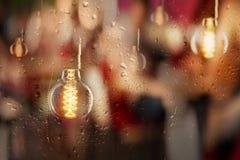 Εκλεκτής ποιότητας βολβοί και αντανακλάσεις πόλεων στο βροχερό παράθυρο Στοκ φωτογραφία με δικαίωμα ελεύθερης χρήσης