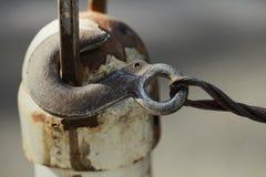 Εκλεκτής ποιότητας γάντζος με το καλώδιο μετάλλων τρισδιάστατος μηχανισμός εργαλείων σύνδεσης έννοιας Μακρο άποψη πεδίο βάθους ρη Στοκ φωτογραφία με δικαίωμα ελεύθερης χρήσης