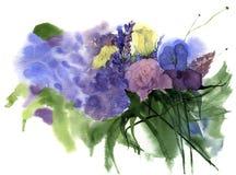 Εκλεκτής ποιότητας γαμήλια ανθοδέσμη Watercolor των λουλουδιών με το ροδαλά, ιώδη, λουλούδι και τα φύλλα γαρίφαλων floral τρύγος  απεικόνιση αποθεμάτων