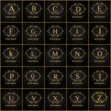 Εκλεκτής ποιότητας γράμματα της αλφαβήτου πολυτέλειας διανυσματικό σύνολο λογότυπων Ταυτότητα εμπορικών σημάτων για το εστιατόριο Στοκ εικόνα με δικαίωμα ελεύθερης χρήσης