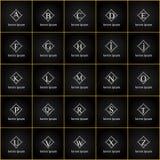Εκλεκτής ποιότητας γράμματα της αλφαβήτου πολυτέλειας διανυσματικό σύνολο λογότυπων Ταυτότητα εμπορικών σημάτων για το εστιατόριο Στοκ Φωτογραφίες