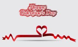 Εκλεκτής ποιότητας γράφοντας καρδιά κορδελλών υποβάθρου ημέρας βαλεντίνων Στοκ Εικόνες