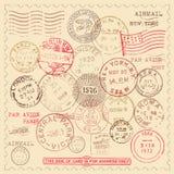 Εκλεκτής ποιότητας γραμματόσημα καθορισμένα Στοκ Εικόνες