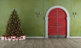 Εκλεκτής ποιότητας είσοδος με το χριστουγεννιάτικο δέντρο ελεύθερη απεικόνιση δικαιώματος