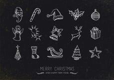 Εκλεκτής ποιότητας εικονίδια Χριστουγέννων σκίτσων Στοκ Φωτογραφία