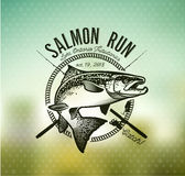 Εκλεκτής ποιότητας εμβλήματα αλιείας σολομών Στοκ εικόνα με δικαίωμα ελεύθερης χρήσης