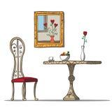 Εκλεκτής ποιότητας εσωτερικό με τον πίνακα, chare, τα λουλούδια και Στοκ Φωτογραφία
