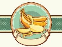 Εκλεκτής ποιότητας ετικέτα με τις φρέσκες μπανάνες. Διανυσματικό illustrati Στοκ εικόνες με δικαίωμα ελεύθερης χρήσης