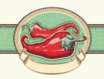 Εκλεκτής ποιότητας ετικέτα με το κόκκινο - καυτά πιπέρια. Διανυσματικό illustra Στοκ Εικόνα