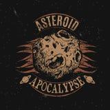 Εκλεκτής ποιότητας ετικέτα με asteroid Στοκ εικόνα με δικαίωμα ελεύθερης χρήσης