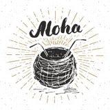 Εκλεκτής ποιότητας ετικέτα, συρμένη χέρι καρύδα με το aloha εγγραφής, grunge κατασκευασμένο αναδρομικό πρότυπο διακριτικών, διανυ Στοκ φωτογραφία με δικαίωμα ελεύθερης χρήσης