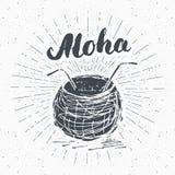 Εκλεκτής ποιότητας ετικέτα, συρμένη χέρι καρύδα με το aloha εγγραφής, grunge κατασκευασμένος Στοκ εικόνα με δικαίωμα ελεύθερης χρήσης