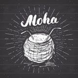 Εκλεκτής ποιότητας ετικέτα, συρμένη χέρι καρύδα με το aloha εγγραφής, grunge κατασκευασμένο αναδρομικό πρότυπο διακριτικών, διανυ Στοκ εικόνα με δικαίωμα ελεύθερης χρήσης