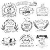 Εκλεκτής ποιότητας ετικέτες αρτοποιείων Χέρι περιλήψεων που σκιαγραφείται Στοκ Εικόνα