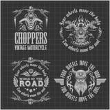 Εκλεκτής ποιότητας ετικέτες, διακριτικά και σχέδιο μοτοσικλετών ελεύθερη απεικόνιση δικαιώματος