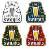 εκλεκτής ποιότητας ετικέτες μπύρας ξιφών καθορισμένες Στοκ Φωτογραφία