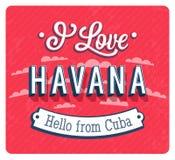 Εκλεκτής ποιότητας ευχετήρια κάρτα από την Αβάνα - την Κούβα διανυσματική απεικόνιση