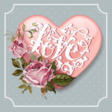 Εκλεκτής ποιότητας ευχετήρια κάρτα ημέρας βαλεντίνων με τα τριαντάφυλλα και την καρδιά Στοκ Εικόνες
