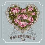 Εκλεκτής ποιότητας ευχετήρια κάρτα ημέρας βαλεντίνων με τα τριαντάφυλλα και την καρδιά Στοκ φωτογραφία με δικαίωμα ελεύθερης χρήσης