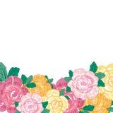 Εκλεκτής ποιότητας ευχετήρια κάρτα με τα ανθίζοντας λουλούδια επίσης corel σύρετε το διάνυσμα απεικόνισης Στοκ Εικόνα