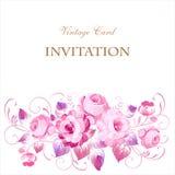 Εκλεκτής ποιότητας ευχετήρια κάρτα με τα ανθίζοντας λουλούδια Με τη θέση για σας Στοκ Εικόνα