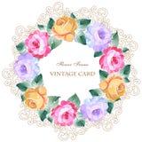 Εκλεκτής ποιότητας ευχετήρια κάρτα με τα ανθίζοντας λουλούδια Με τη θέση για σας Στοκ εικόνα με δικαίωμα ελεύθερης χρήσης