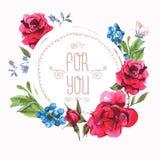 Εκλεκτής ποιότητας ευχετήρια κάρτα Watercolor με την άνθιση απεικόνιση αποθεμάτων
